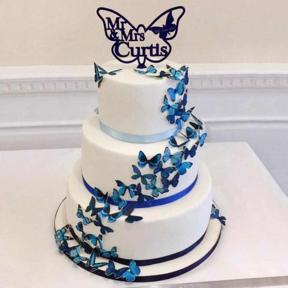 Торт с бабочками из рисовой бумаги