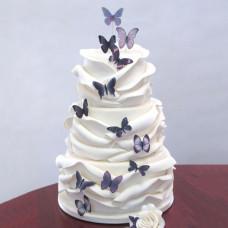 Свадебный торт с рюшами и бабочками