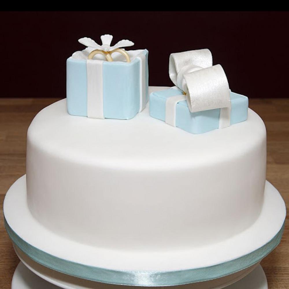 Торт с кольцами на свадьбу в стиле Тиффани