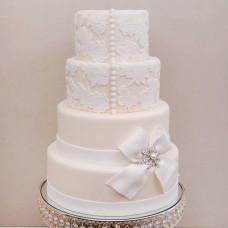 Свадебный торт с ажурным кружевом