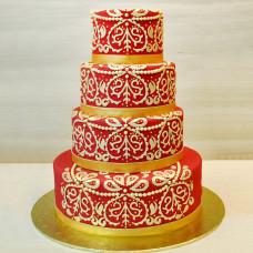 Свадебный торт в индийском стиле с кружевом