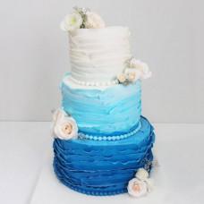 Свадебный торт омбре с розами