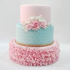 Свадебный торт рюши и цветы