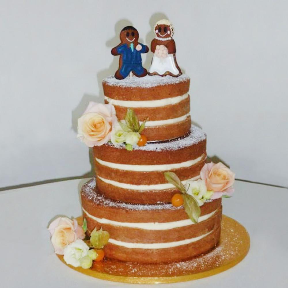 Торт свадебный с пряниками топперами