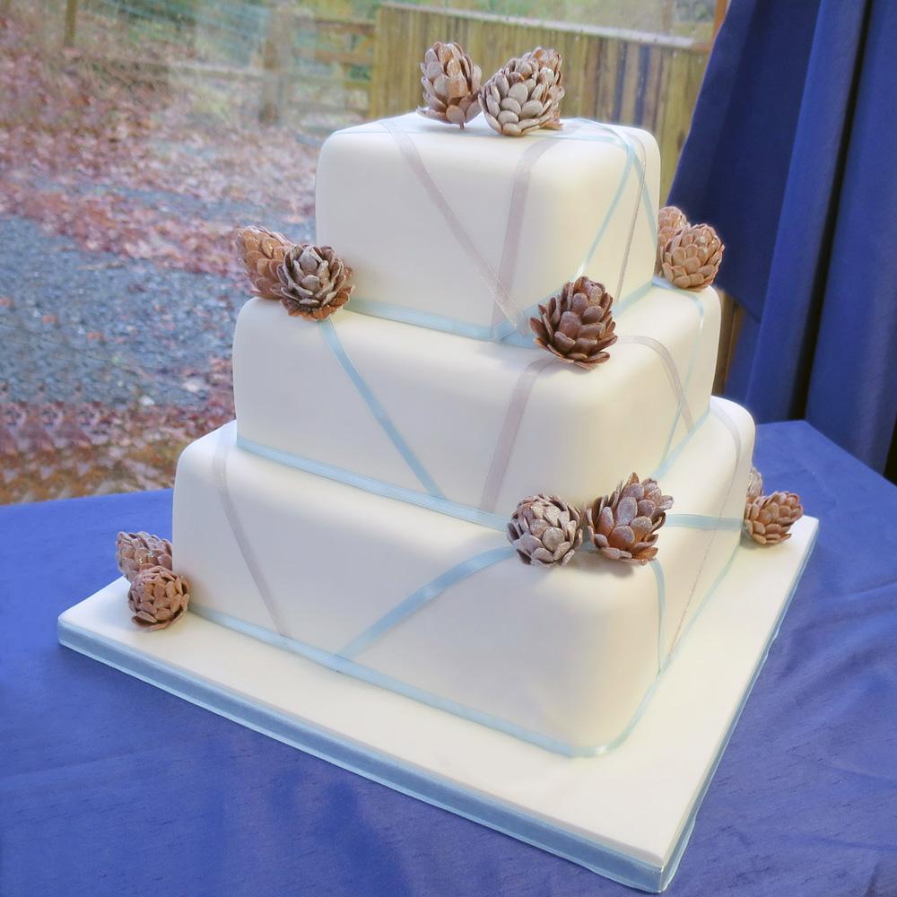 Торт на свадьбу с шишками и лентами