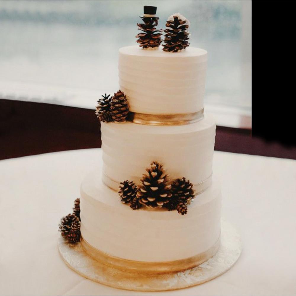 Торт с шишками на зимнюю свадьбу