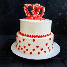 Торт свадебный двухъярусный сердце
