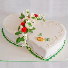 Свадебный торт 2 сердца