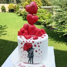 Торт свадебный с сердечками