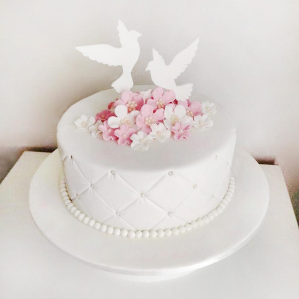 Торт на 10-ю годовщину с голубями