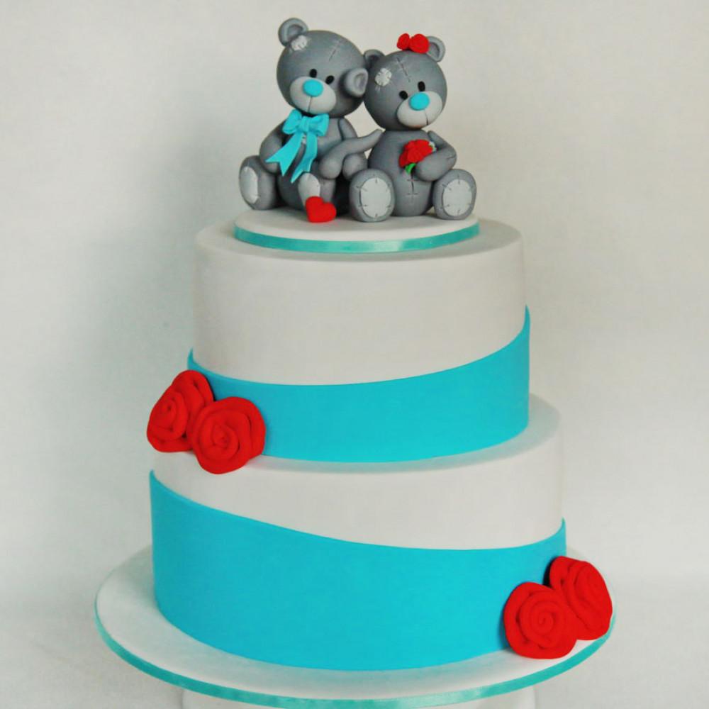 Свадебный торт с фигурками мишек