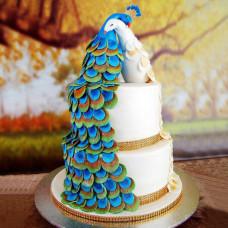 Свадебный торт «Павлинья пара»