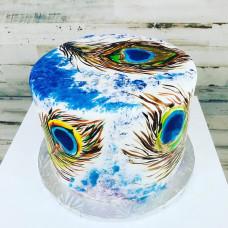 Мини свадебный торт с  павлиньими перьями