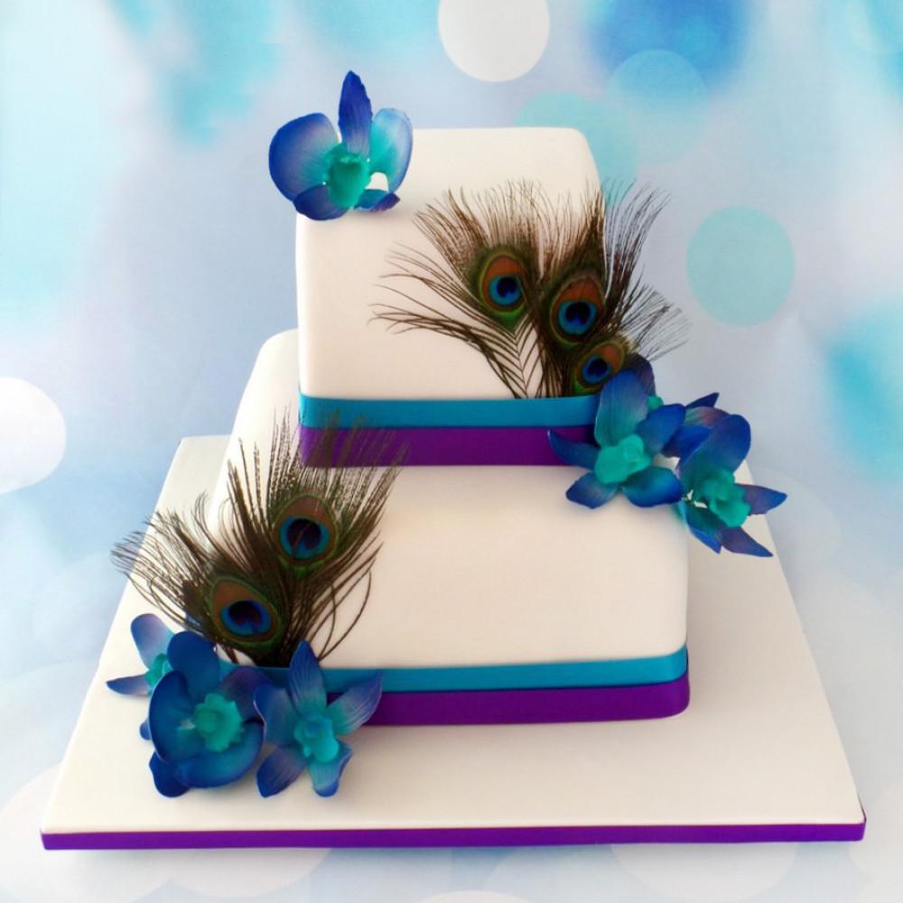 Свадебный торт на тему «Павлины»