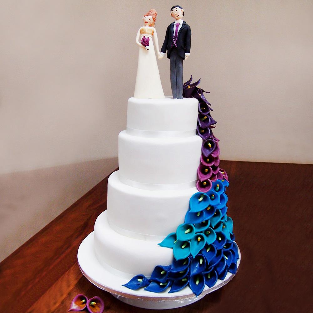 Торт с цветами в стиле перья павлина