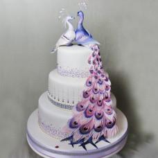 Свадебный торт с шикарными павлинами