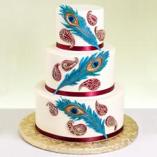 Торт на свадьбу в стиле «павлинье перо»