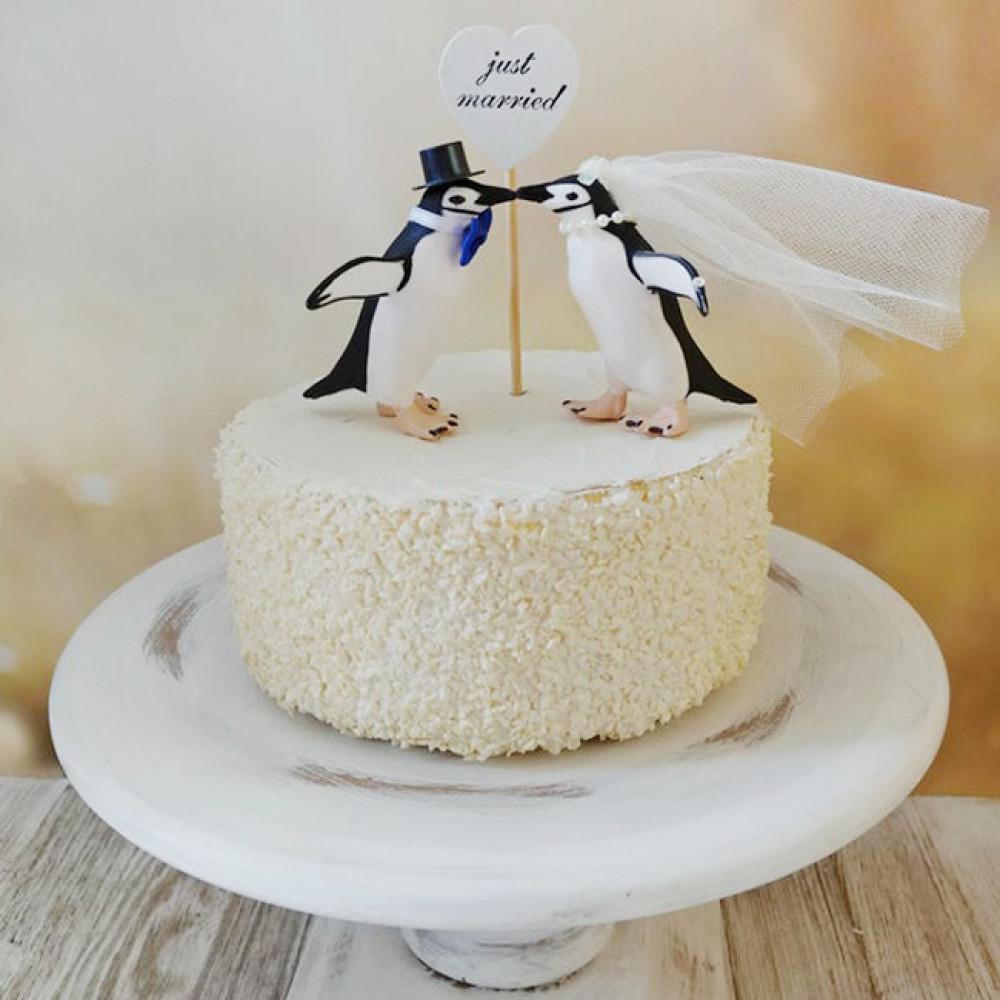 Одноярусный торт с пингвинами