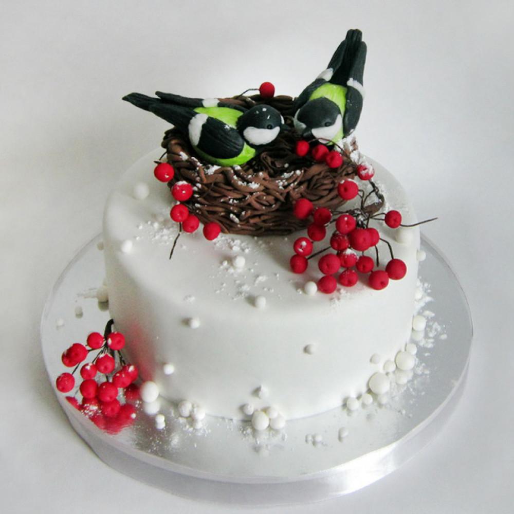 Свадебный торт с синичками