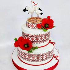 Свадебный торт с аистами