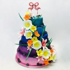 Свадебный торт «Влюбленные фламинго»
