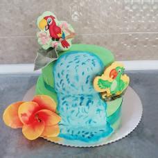 Торт с попугайчиками на свадьбу