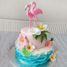Свадебный торт с фламинго