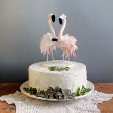 Свадебный торт красные фламинго