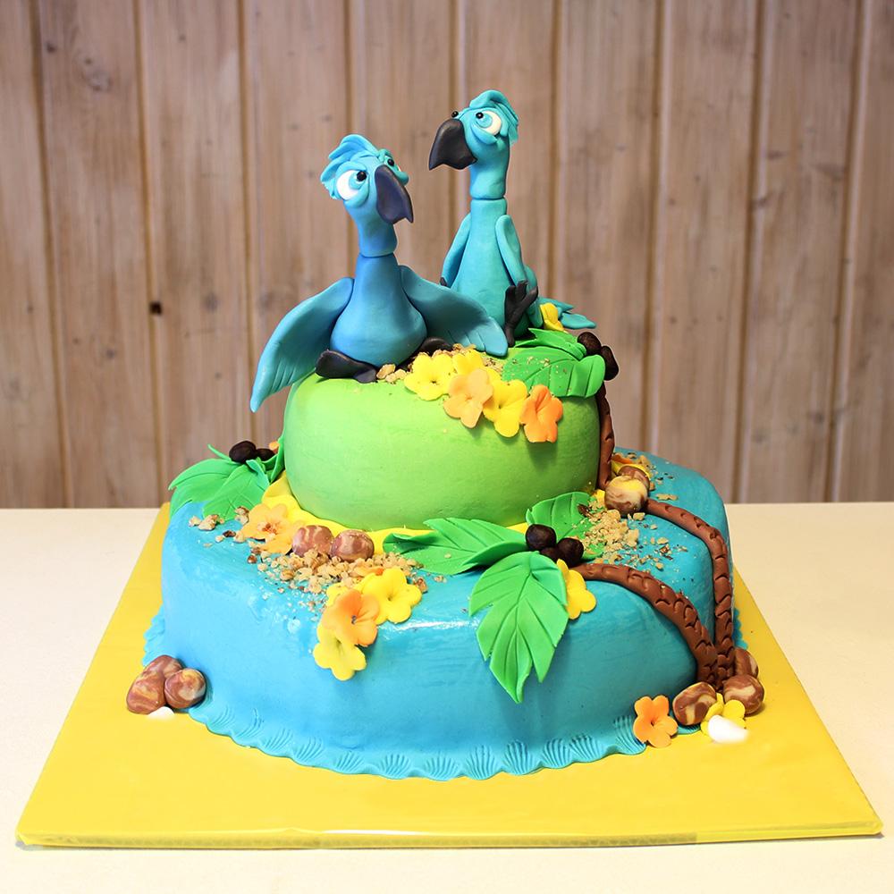 Свадебный торт с попугаями