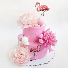 Торт с розовыми фламинго на свадьбу