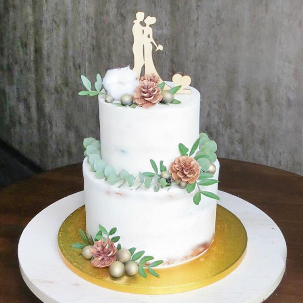 Торт с силуэтами на свадьбу
