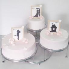 Торт с силуэтами на годовщину свадьбы