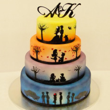 Торт с силуэтами и инициалами на свадьбу