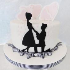 Торт на 10-ю годовщину свадьбы с силуэтами