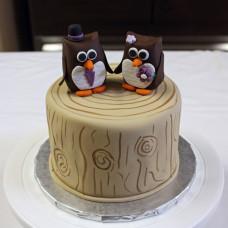 Одноярусный свадебный торт с совами