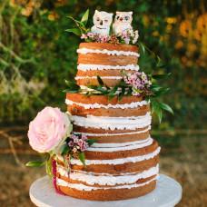 Свадебный торт с совами без мастики