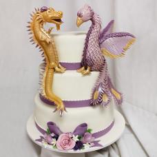Торт на свадьбу с Фениксом и Дракончиком