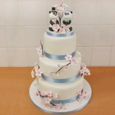 Свадебный торт с пандами и сакурой
