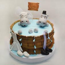 Свадебный торт с бегемотами