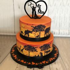 Свадебный торт с силуэтами животных