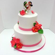 Торт с молодоженами в гавайском стиле