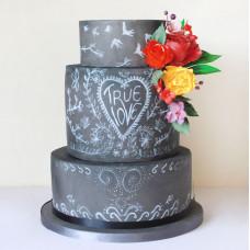 Свадебный торт с эффектом меловой доски