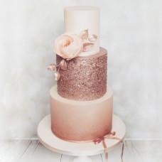 Свадебный торт с эффектом металлик