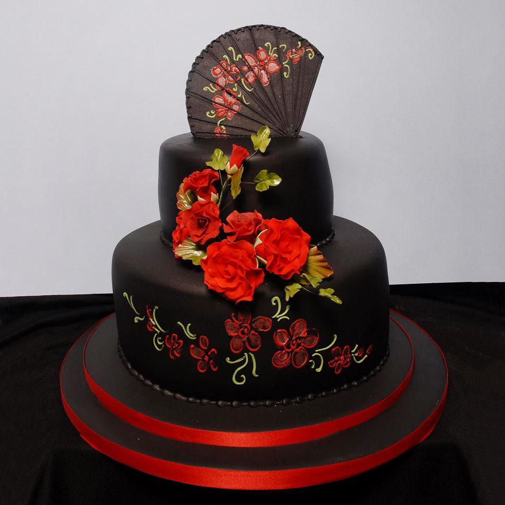 Свадебный торт с японской росписью и веером