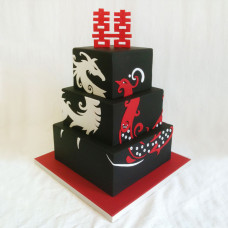 Черный торт Китайский дракон и Феникс