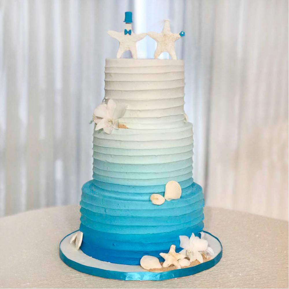 Морской свадебный торт без мастики