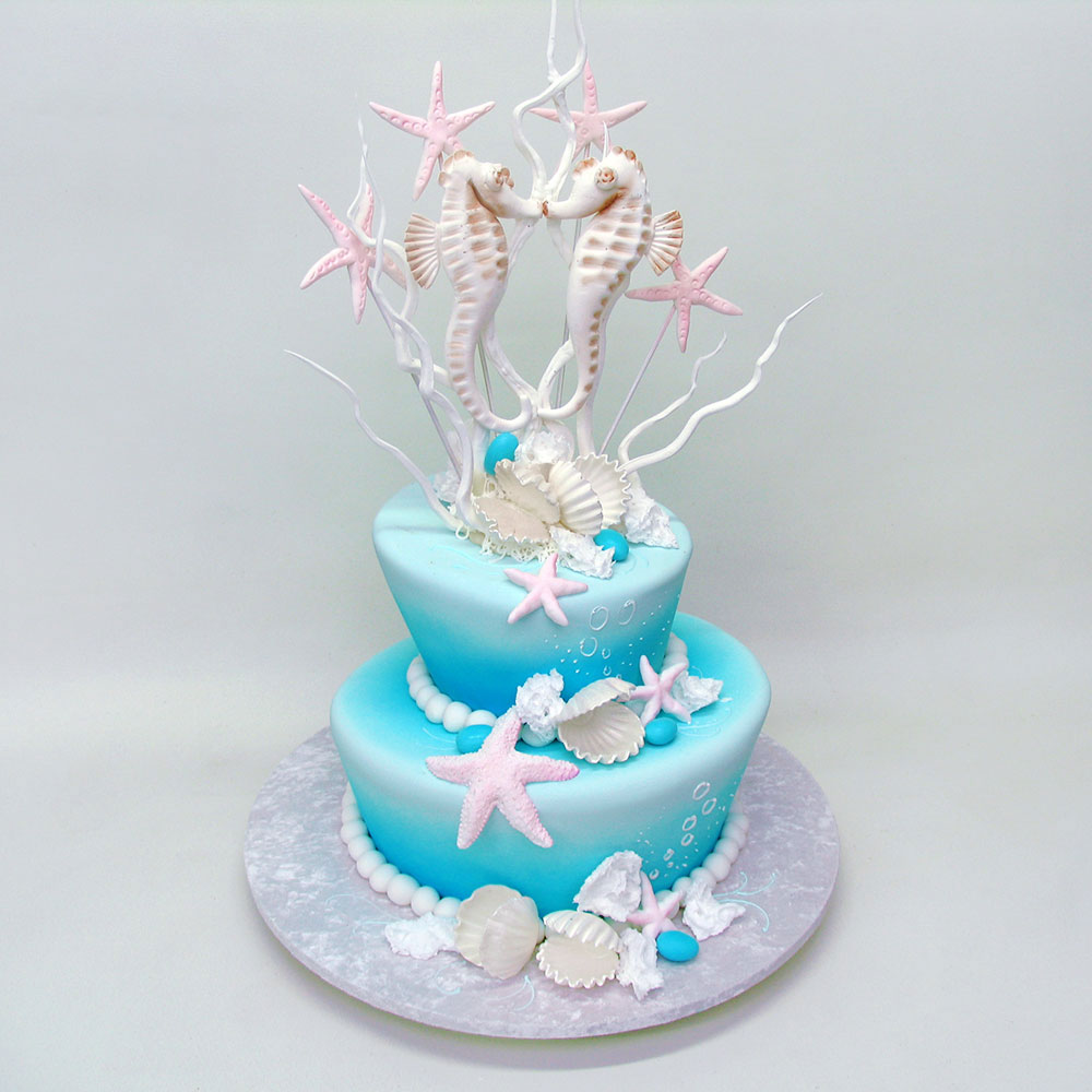 Свадебный торт с морскими коньками