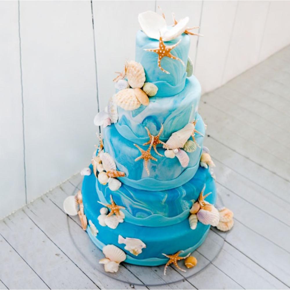 Торт с морскими ракушками, кораллами и жемчужинами