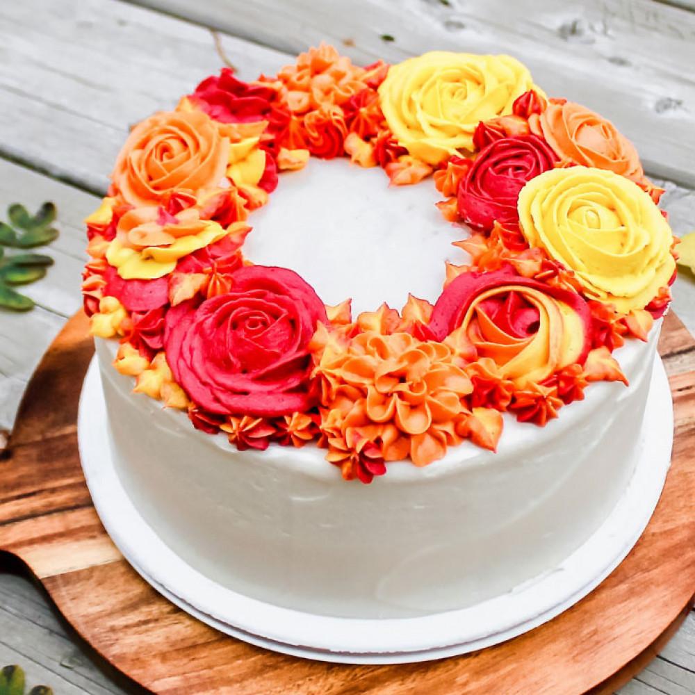 Маленький осенний свадебный торт