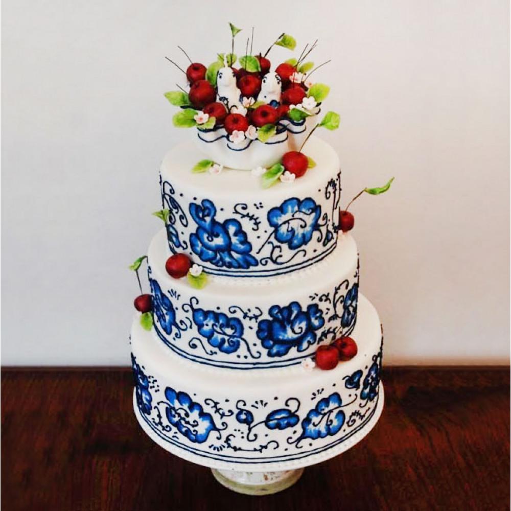 Свадебный торт в стиле Гжель